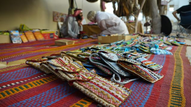 Hand made hand bags at market Dahab Bedouin Festival 2014
